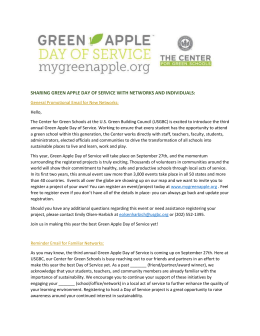 SHARING GREEN APPLE DAY OF SERVICE WITH NETWORKS