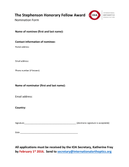 The Stephenson Honorary Fellow Award Nomination Form