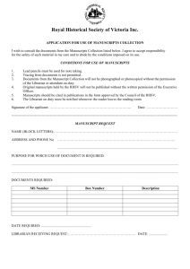 Application for Use of Manuscripts Collection Form