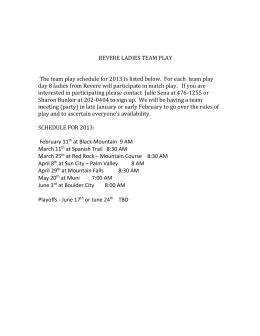 REVERE LADIES TEAM PLAY The team play schedule for 2013 is