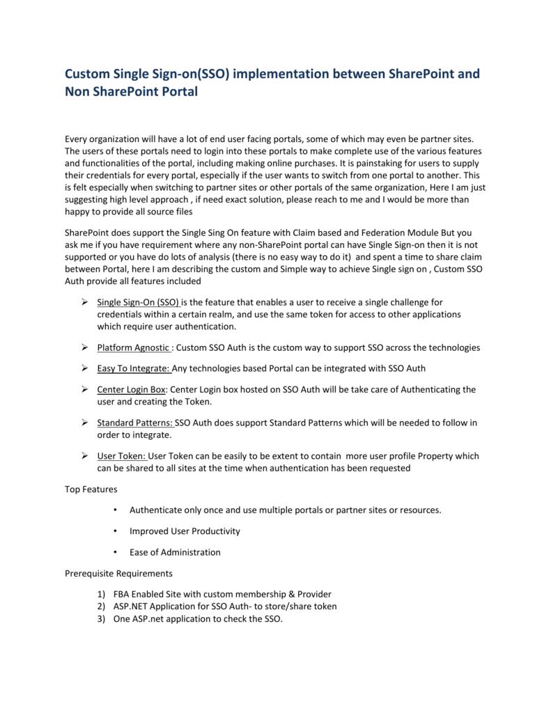 Custom Single Sign On(SSO) for sharepoint