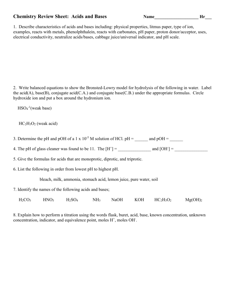 worksheet Bronsted Lowry Acids And Bases Worksheet Answers acid base unit review sheet