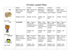 October Lesson Plans Monday Tuesday Wednesday Thursday