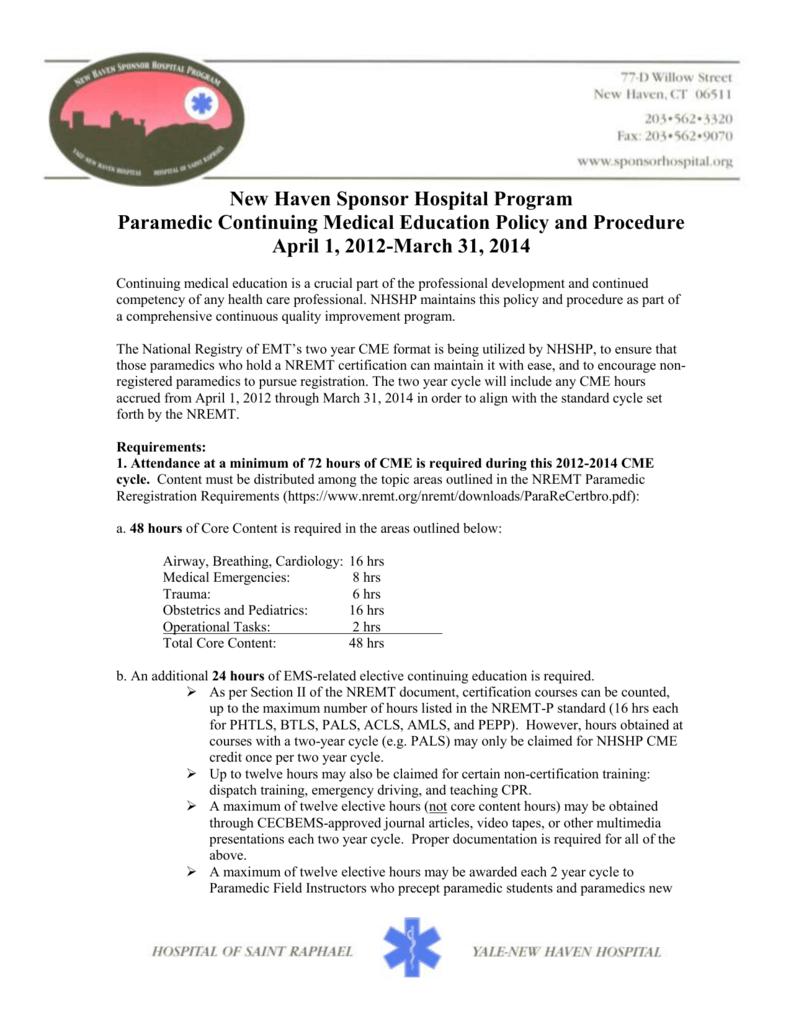 New Haven Sponsor Hospital Program Paramedic Continuing