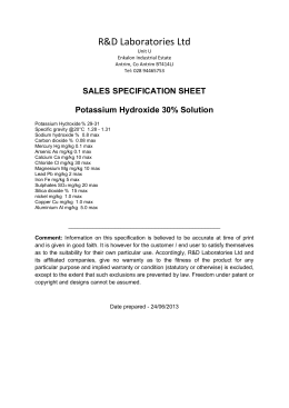 SALES SPECIFICATION SHEET Potassium Hydroxide 30