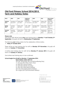 Old Ford Primary School 2014/2015 Term and Holiday Dates
