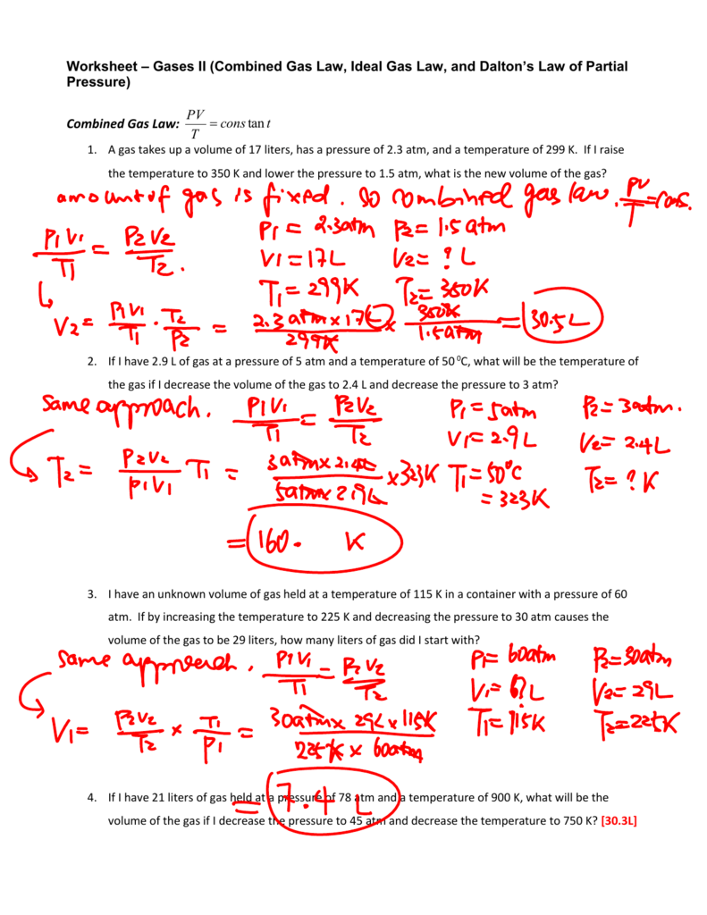 Worksheet Gas Laws II Answers – Combined Gas Law Worksheet Answers