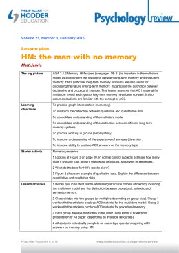Lesson plan: HM: the man with no memory