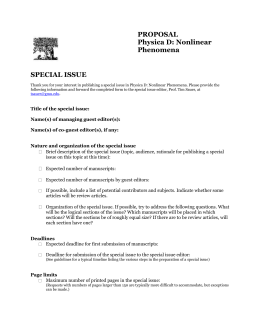 SPECIAL ISSUE PROPOSAL Physica D: Nonlinear