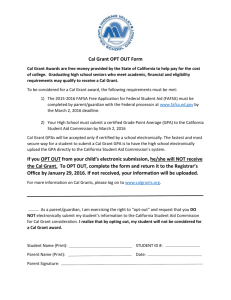 Cal Grant OPT OUT Form