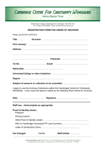 Registration Form For Users of Archives