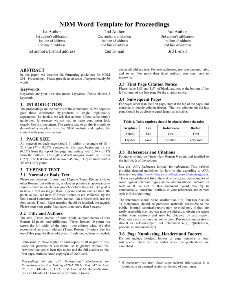 Proceedings Template - UCF Continuing Education