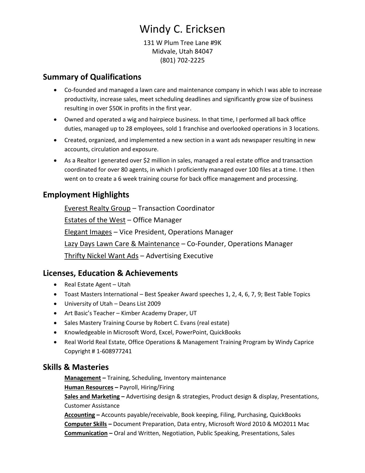 Windy C  Ericksen Resume-PDF