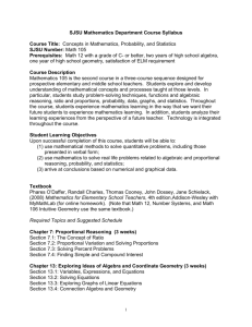 SJSU Mathematics Department Course Syllabus