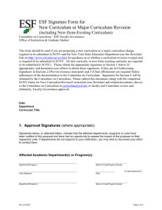 ESF Signature Form for New Curriculum or Major Curriculum Revision