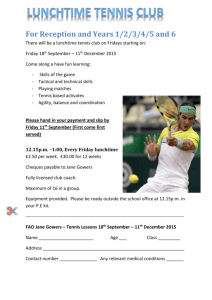 Tennis lunchtime Autumn 2015