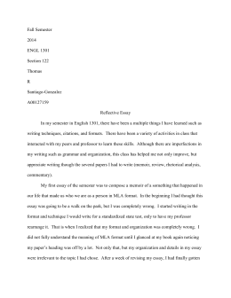 English 1301 Reflective Essay