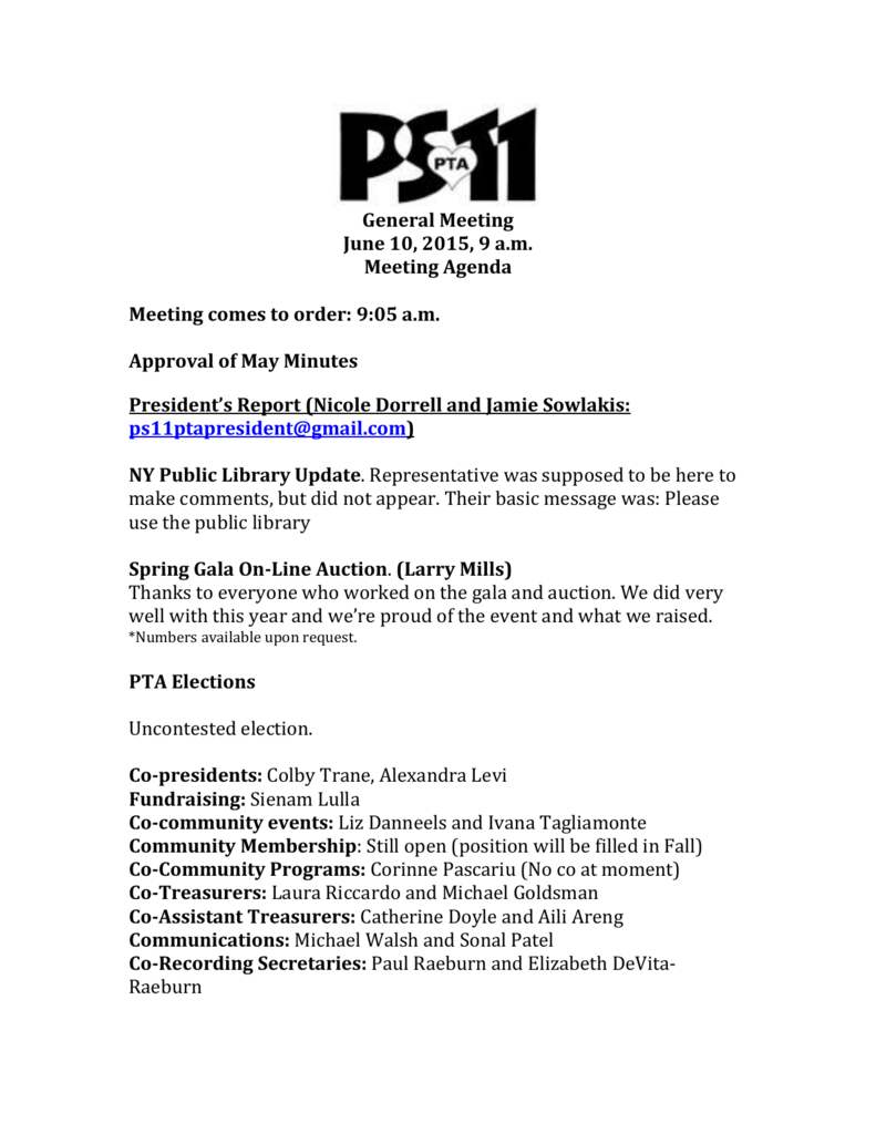 PTA General Meeting Minutes June 10, 2015