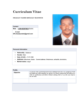 Curriculum Vitae - Sudan University of Science and Technology