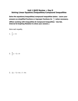 Day D Solving Linear Equation/Inequalities/Compound Inequalities