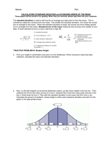 CALCULATING STANDARD DEVIATION WORKSHEET