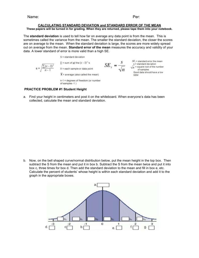 Worksheets Standard Deviation Worksheet calculating standard deviation worksheet