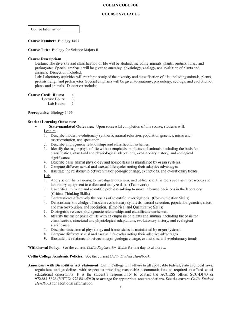 biology 1407 summer 2015 lab syllabus rh studylib net
