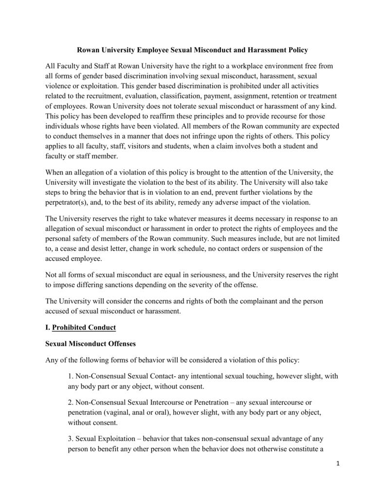Rowan University Employee Sexual Misconduct and Harassment