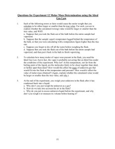Questions for Experiment 12 Molar Mass Determination using the