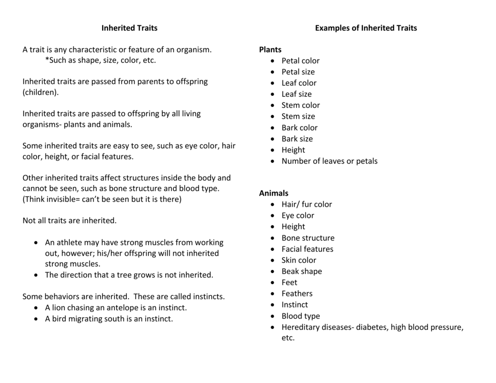 worksheet Inherited Traits Worksheet 3rd Grade inherited traits and learned behaviors notes