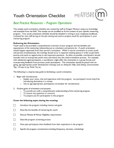 Youth Orientation Checklist - Institute for Youth Success at