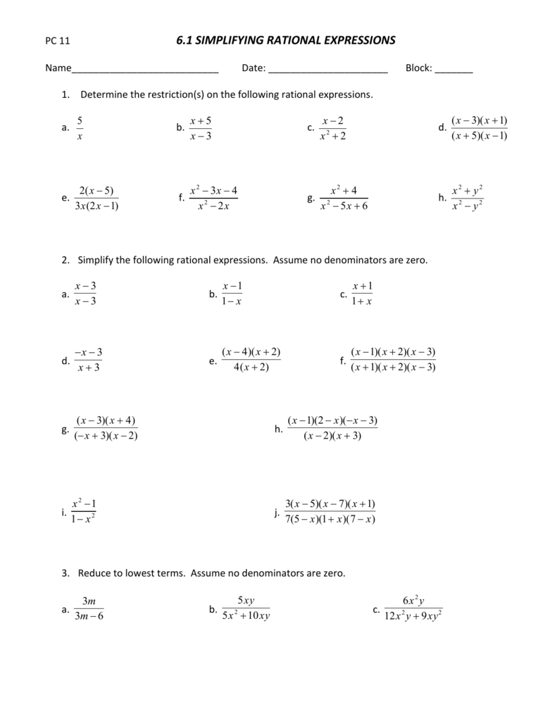 6.1 Simplifying Rational Expressions Worksheet