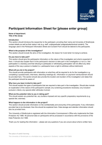 Participant Information Sheet and Consent Form