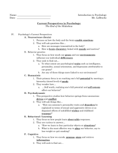 Prologue to Psychology Notes Sheet #2 key