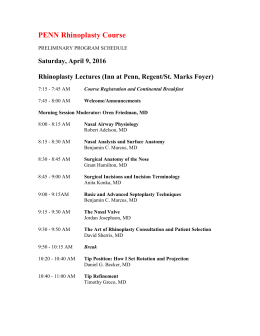 Saturday, April 9, 2016 Rhinoplasty Lectures (Inn at Penn, Regent/St