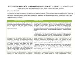 AFRICAN DEVELOPMENT BANK GROUP RESPONSE TO STAP
