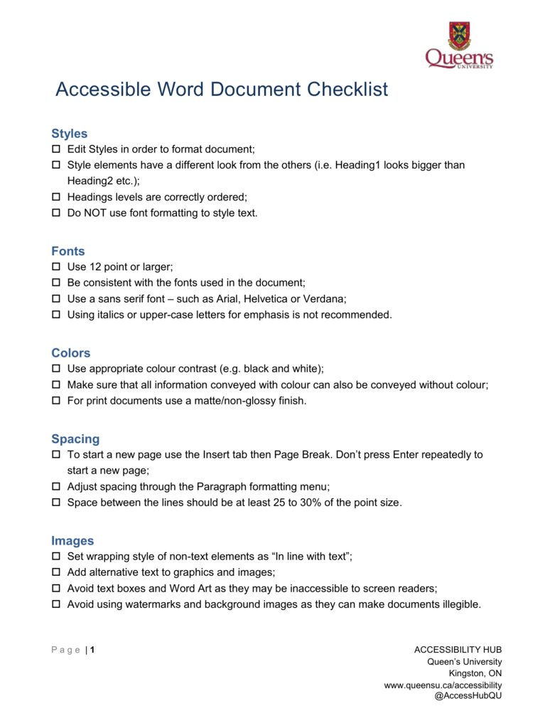 Accessible Word Document Checklist