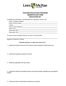 Microsoft Word - Teacher Ed. Observation Form.doc