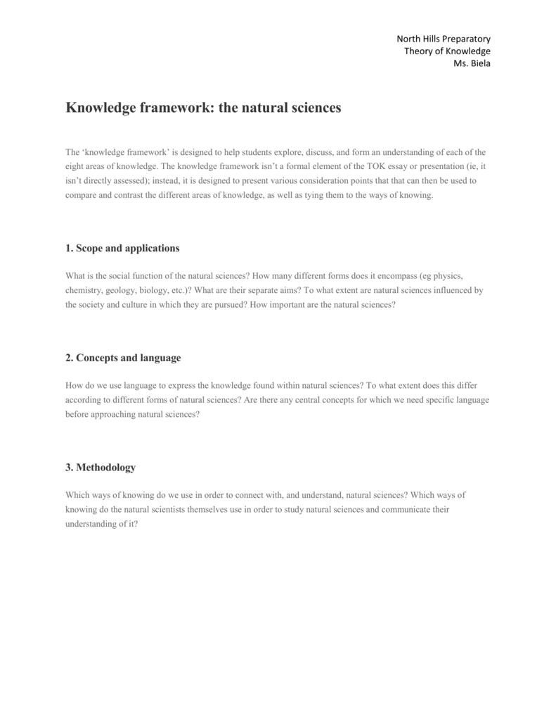 knowledge framework the natural sciences