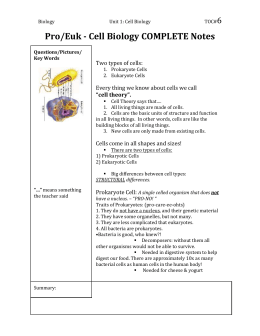 Pro/Euk - Cell Biology COMPLETE Notes