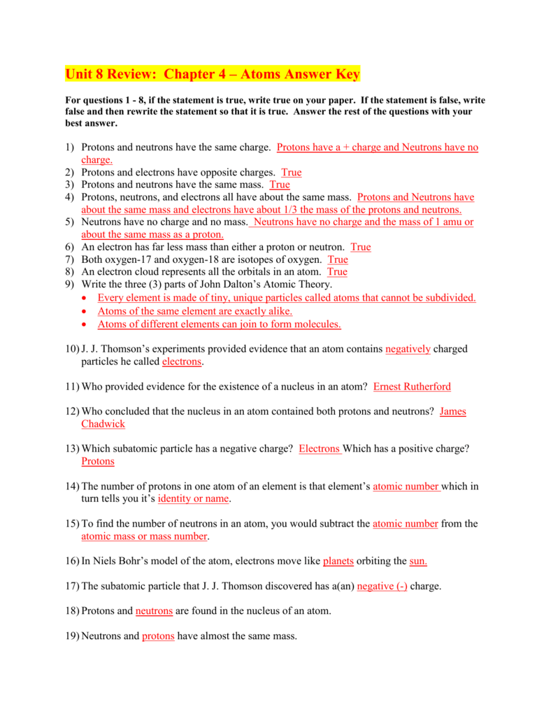 Unit 8 Review: Chapter 4 – Atoms Answer Key