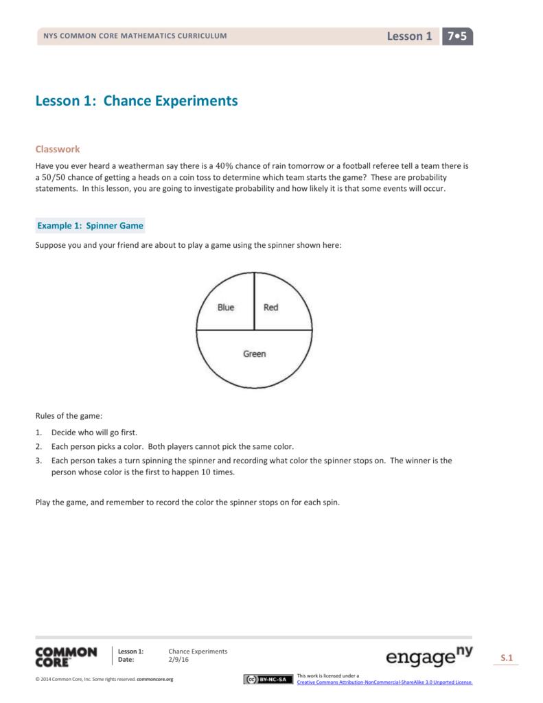 Grade 7 Mathematics Module 5, Topic A, Lesson 1