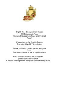 English Tea – St. Augustine`s Church 239 Quispamsis Road (Corner