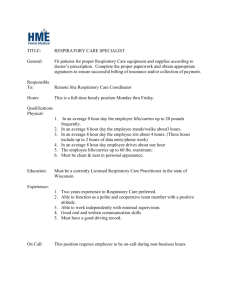 Clinical Respiratory Therapist Job Description