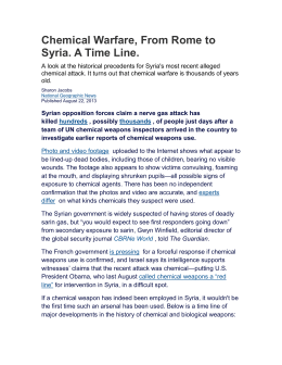 Chemical Warfare, From Rome to Syria. A Time Line.