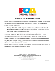 Friends of the Arts Project Grants - College of Fine Arts