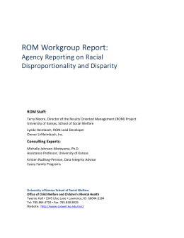 Final Report Racial Disproportionality and Disparity