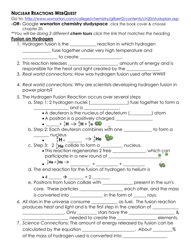 Webquest Balancing Chemical Equations Answer Key ...