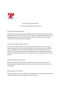 Types of Poisoning in dogs and cats Types of Poisoning Symptoms