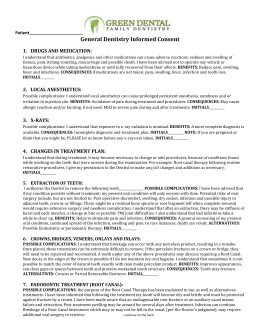 Consent form for General Dentistry